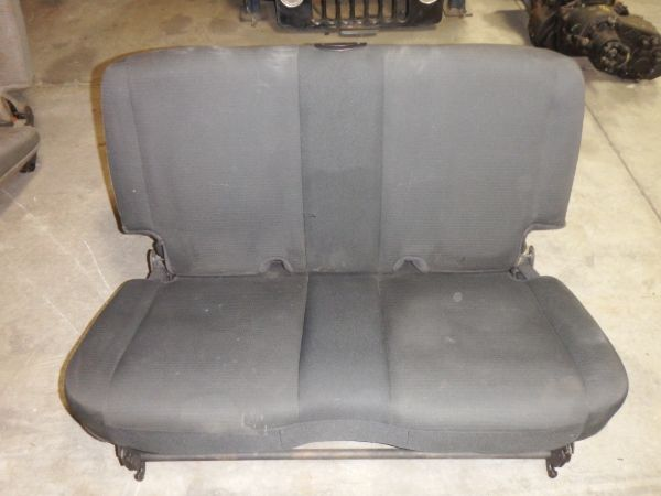 03-06 Jeep Wrangler TJ LJ Rear Seat Plain Black Cloth Image