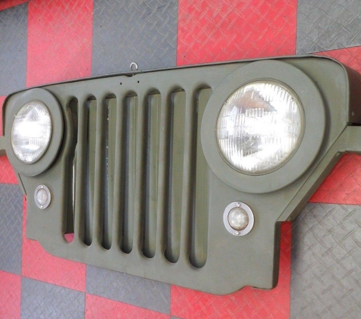 WILLYS JEEP M-38 CJ-3 CJ-2 WALL HANGER SIGN GRILL GRILLE FRONT CLIP MILITARY M38 Image