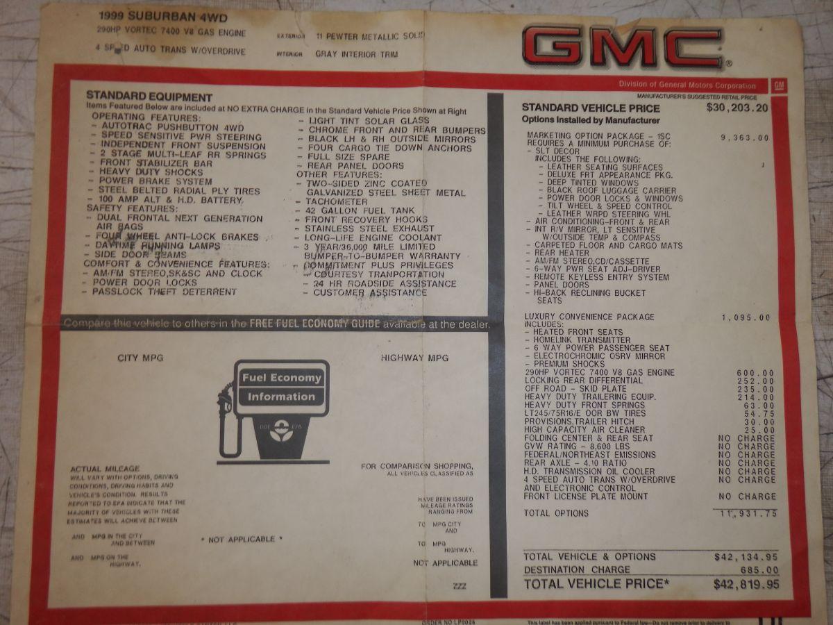 1999 GMC K2500 Suburban SLT 4×4