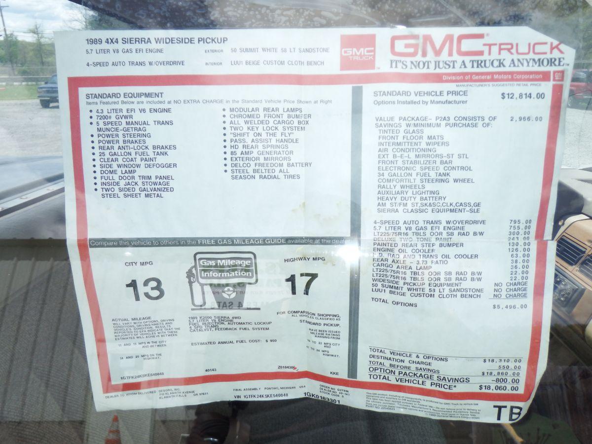 1989 GMC K2500 3/4 Ton Truck Regular Cab Long Bed 4×4
